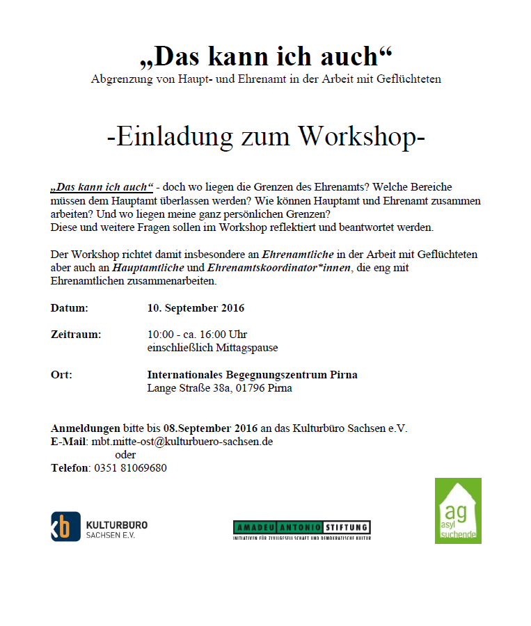 Flyer Ehrenamtsworkshop