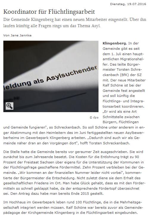 Zeitungsartikel - Koordinator für Flüchtlingsarbeit