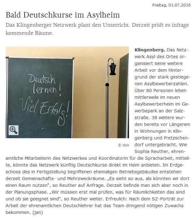 bald Deutschkurse im Asylheim